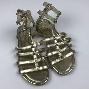 Marc Fisher Gold Stud Trim Gladiator Sandals